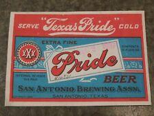 """New listing Original 1937 Texas Pride Beer San Antonio Brewing Assn Texas 4 7/16"""" Label Nice"""