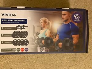 Vivitar Adjustable Dumbell Set 45lbs Total