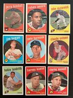 Lot of 9 1959 Topps Baseball Cards w/ Harvey Kuenn