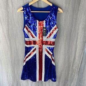 Blue Red UNION JACK England BLING SEQUIN SIZE 8/10 UK Spice Girls FANCY DRESS