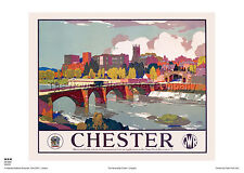 CHESTER CHESHIRE RETRO VINTAGE RAILWAY TRAVEL POSTER ADVERTISING RAIL ART
