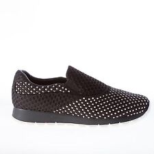 PRADA women shoes Bee Running black tech fabric slip on with silver metal studs