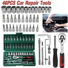 """46Pc 1/4"""" Car Repair Tool Set Mixed Tools Screwdriver Sets Wrenches Ratchet"""