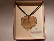 """Real Leaf Metal Filigree Necklace - Large Gold Aspen Pendant on 18"""" Leather Cord"""