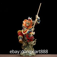 43CM Chinese Myths legends Bronze painted Sun wukong Monkey King Fengshui Statue