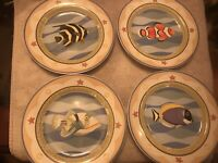 4 Salad Plates Sakura Coral Reef Claire Murray Fish