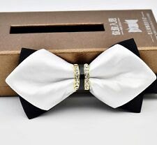 Black White Gold Rhinestone Lattice Sharp Corners Luxury Men's Formal Bow Ties