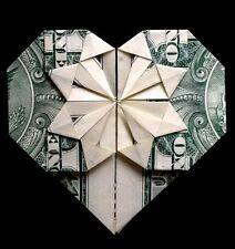 Money Origami heart Us 1$ bill