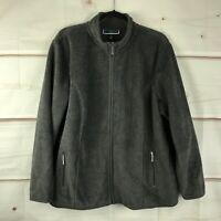 Karen Scott Sport Plus Size Long Sleeve Full Zip Fleece Womens 0X Gray Jacket