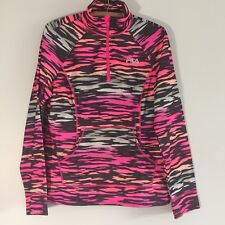 Women's FILA Sport Hot Pink Black Tiger Striped Print Athletic Jacket Pullover L
