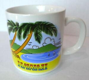 Hawaii Coffee Mug Sanyei Honolulu Palm Tree and Beach Cup Travel Souvenir