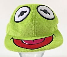 Kermit The Frog Cap Muppet Baseball Hat Lime Green Soft Fuzzy Flat Brim