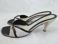 MARC JACOBS USED 41 CANVAS/LEATHER KHAKI HEELS/PUMPS/SHOES/SLIDES OPEN TOE ITALY