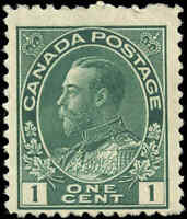 Canada Mint H 1911 1c F+ Scott #104 King George V Admiral Issue Stamp