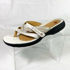 Clarks Unstructured Women's Thong Sandals Beige Leather Size 12M
