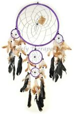LARGE PURPLE DREAM CATCHER 70cm Long Natural Feathers Silver Web Wall Hanging
