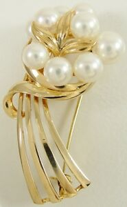 """Authentic Mikimoto 14K Yellow Gold Pearl Flower Bouquet Pin Brooch 1 3/4"""" Signed"""