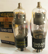 2 matched 1950's Tung-Sol/Sylvania 'Black Plate' 6J7G tubes - NOS / New In Boxes