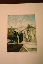 Rooftops with Winter Birch a print by Linda Adato