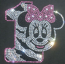 Minnie Mouse pink/clear ZEBRA 1st Birthday iron on rhinestone transfer decal