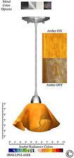 2 Jezebel Radiance Amber Yellow Gold Small Lily Pendant Lights w/Nickel Hardware