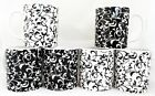 Venetian Mugs Black White Set 6 Mugs Hand Decorated in The U K