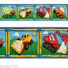 Clay Construction Trucks Tractor Kid Boy Blue Wall paper Border