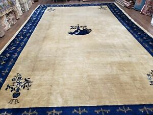"9' 3"" X 14' 3"" Antique Handmade Chinese Peking Wool Rug"