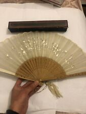 Antique Chinese Export Silk Embroidery Needle Work Hand Fan W Original Box