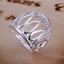 *UK* 925 SILVER PLT PATTERNED THUMB SHIELD STATEMENT RING HOLLOW FILIGREE WIDE