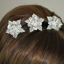3 Hair Pins Large Flowers Wedding Rhinestone Tiara Diadem Bridal Accessories