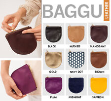 BAGGU HANDMADE SMALL POUCH MADE OF NATURAL MILLED SOFT LEATHER BRASS ZIPPER NAVY