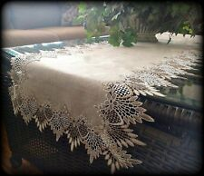 """54""""  Dresser Scarf Table Runner Doily EARTH FEATHER LACE Neutral Earth Tone"""