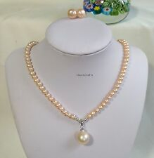 Genuine Silver 4A 6mm freshwater pearl necklace+13.3mm pendant+earring Pnk L42cm