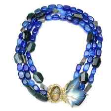 NEW Alexis Bittar Butterfly Wing Torsade Swarovski Necklace Blue
