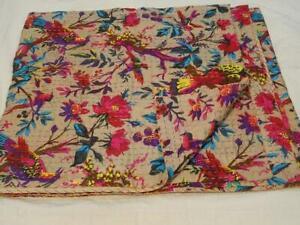 Indian Handmade Bedspread Quilt Vintage Throw Cotton Blanket Kantha Gudari Queen