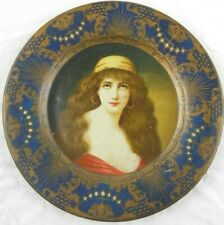 Antique 1905 Lithographed Metal Vienna Art Plate - Beautiful Exotic Gypsy Woman