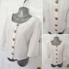 2c6e9a66283b38 ALICE COLLINS Ladies Size 12 White Button Up Blouse Top Lace Trim Lagenlook