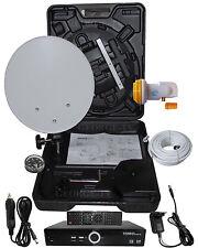 Camping SAT Anlage mit Ful HD Receiver im Koffer LNB SAT-Kabel und Befestigung