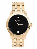 GUESS Factory Men's Black and Gold-Tone Diamond Dress Watch