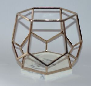 BATH BODY WORKS GOLD HEXAGON MARBLE FRAME LARGE 3 WICK CANDLE HOLDER SLEEVE 14.5