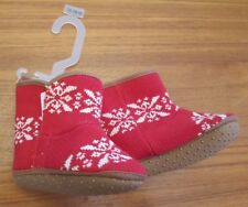 NEW Old Navy Girls 12-18 MONTHS 'Fairisle' Crib Shoe Booties RED Boots   #214118