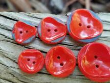 Vintage 1940's West German Graduated Size Glass Button Red with Blue Trim