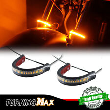 2X Bright Amber LED Fork Turn Signal DRL Light Strip For Motorcycles, Waterproof