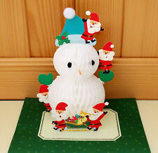 Sanrio Pop-Up 3D Honeycomb X'mas Greeting Card #9764142 Santas&Snow Man