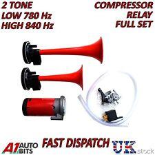 12V Dual Trumpet Air Horn Compressor Kit Super Loud Train Car Truck Boat 110db