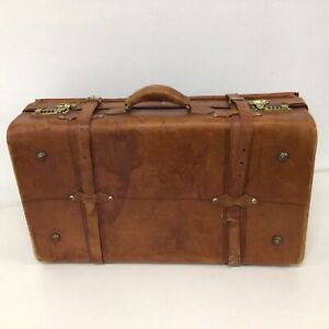 Vintage Brown Leather Strapped Combination Locked Small Suitcase #209