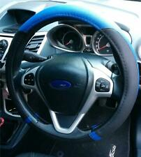 Steering Wheel Cover Blue/Black Soft Leather Look Comfort Grip For Ford