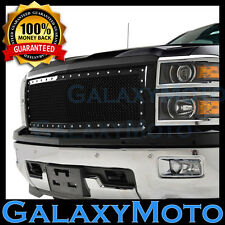 14-15 Chevy Silverado 1500 Black Complete Replacement Rivet Mesh Grille Shell
