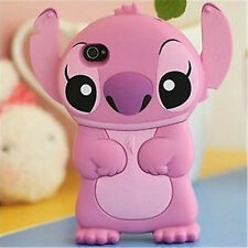 Cute 3D Stitch Movable Ear Flip Soft Case Cover For iPhone 5/5S Pink